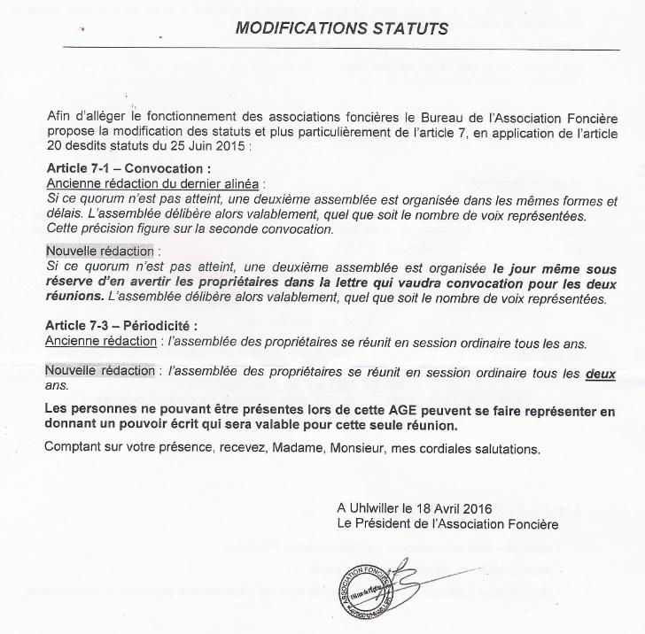 Association foncière - Modification des statuts - 2016 04 16